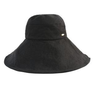 Damen Eimer Sonne Hüte, sommer Strand Angeln Urlaub Breiter Krempe Frauen Sun Hüte UPF 50 UV Schutz Faltbare Kappe mit Kinnriemen L. Schwarz