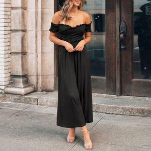 Schwarz Frauen sexy Off Shoulder Jumpsuit Korsett Sweetheart Pleats Long Romper,Größe: XL