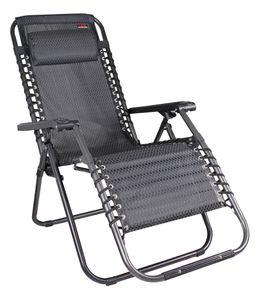 Relax-Sessel 2-er Set, mit Kopfkissen, Stufenlos verstellbar, Farbe: Schwarz/Grau
