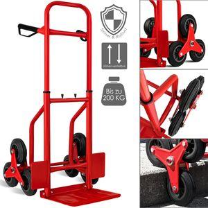 Masko® Treppenkarre Sackkarre 200kg Transportkarre Treppensteiger Stapelkarre, Farbe:Rot
