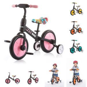 Chipolino Dreirad, Laufrad 2 in 1, Max Bike, 10 Zoll Räder, Pedale, Stützräder, Farbe:rosa