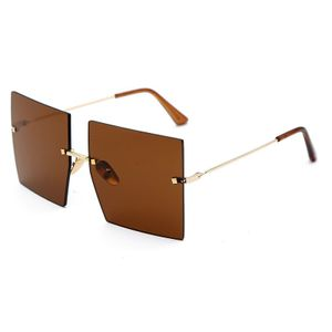 Übergroße rahmenlos quadratische Sonnenbrille Damen Retro Sonnenbrille UV400 -(3,)
