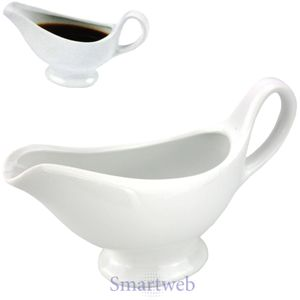 Keramik Sauciere Soßenkanne Soßenkännchen Soßenschale Schale Dippschale Weiß