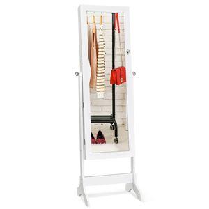 COSTWAY Schmuckschrank freistehend, Spiegelschrank abschließbar, Schmuckregal mit Spiegel, Standspiegel mit Schubladen (Weiß)