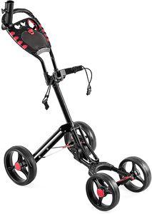 COSTWAY 4-Rad Golftrolley klappbar, Golfwagen mit verstellbarem Griff | Schirmhalterung | Getränkehalterung | Anzeigetafel, Schiebewagen Metallragmen, Golf Push Cart, Golfcaddy schwarz
