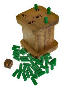 6 raus für 2 bis 6 Spieler - sechs raus - Weg mit der sechs - warum immer ich - 6 weg - Würfelspiel in schöner Spielbox aus Holz