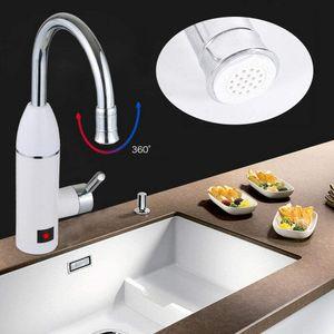 Elektrischer Durchlauferhitzer Warmwasserbereiter Wasserhahn mit LED-Temperaturanzeige für Küche und Bad 220V 3000W (Silber)