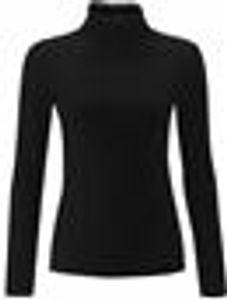 Re Tech UK - Damen Rollkragenpullover - langärmlig - gerippte Baumwolle - einfarbig - Schwarz - S/M (36/38)