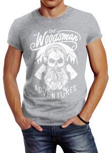 Herren T-Shirt Lumberjack Woodsman Hipster Bart Skull Totenkopf Neverless® grau XL