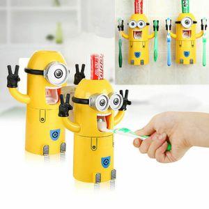 2-er/set Gelb Automatische Zahnpastaspender Zahnbürstenhalter Squeezer Cartoon Wandmontiert Kinder Zahnbürsten-Halter