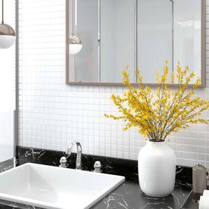 NEU Selbstklebende ölbeständige Home Kitchen Mosaikfliesen Aufkleber Abziehbilder Wanddekoration 22 Stk. Weiß 30x30cm Glas|6186