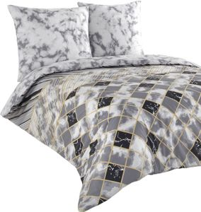 Bettwäsche 200x200 + 80x80 cm Baumwolle Renforce weiß grau gold Rauten Marmoroptik mit Reißverschluss, 3-teilig