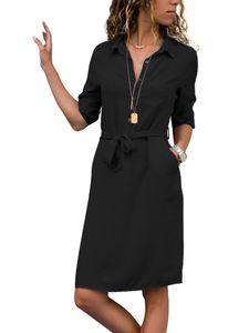 Damen Revers Kragen 3/20 Ärmel Mittellanges Kleid Freizeithemd Schnürkleid,Farbe: Schwarz,Größe:S