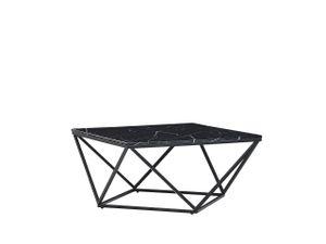 Couchtisch Schwarz MDF Marmor Optik quadratisch 80x80 cm mit schwarzem Metallgestell Modern Glamour Stil Sofatisch Wohnzimmer Salon Möbel