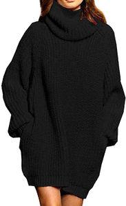 Damen Langarm Oversize Grobstrick Pulloverkleid mit Rollkragen  M