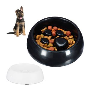 relaxdays 2 x Anti Schling Napf Tiernapf Futternapf langsam Fressen Hundenapf Fressnapf