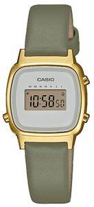 Casio Damenuhr LA670WEFL-3EF grün gold Lederband