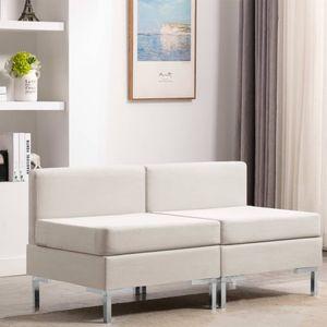 Modular-Mittelsofas 2 Stk. mit Auflagen Stoff Creme Wohnlandschaft-Sofa Relaxsofa für Wohnzimmer Schlafzimmer Esszimmer