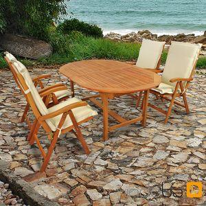 Gartenmöbel Set 9-teilig Sun Flair mit Auflagen Premium Beige
