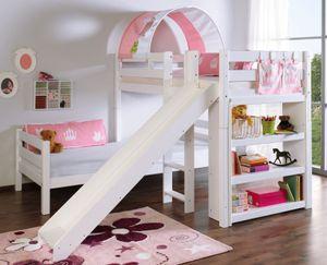 Etagenbett mit Rutsche BENI L Kinderbett Spielbett Bett Weiß Stoff Prinzessin, Matratzen oben/unten:ohne