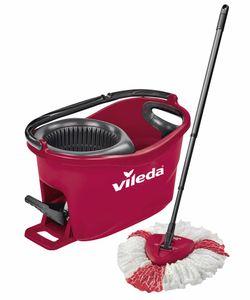 vileda Wischmop-Set Turbo Easy Wring & Clean incl. Powerschleuder und Fußpedal, Farbe Rot