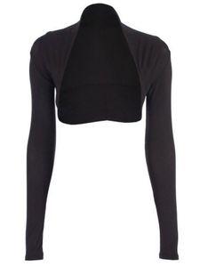 krautwear Damen Bolero Langarm Einfarbig Viskose Stola Bolerojacke (schwarz)