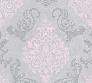 A.S. Création Vliestapete mit Glitter Memory 3 Tapete grau metallic rosa 10,05 m x 0,53 m 953726 95372-6