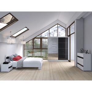 Schlafzimmer-Set Bettgestell Kleiderschrank Nachttisch Kommode Maxima mit Fantasy-Matratze (Weiß/Semigloss Schwarz)