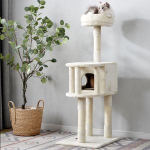 Kratzbaum Katzenbaum Kratzbaumturm mit großen Eigentumswohnungen, gepolsterten Plüschsitzstangen & Katzenkratzbaum für Kätzchen