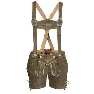 kurze Lederhose in Hellbraun von Marjo Trachten, Größe:36, Farbe:Hellbraun