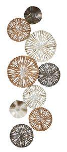 3D Wandbild 33x87cm Ringe Kreise Metall Braun Gold Deko Teller Wanddeko Design