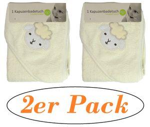 Kaputzenbadetuch - Babybadetuch - Kaputzenhandtuch - 2 Stück - 80x75cm (Neutral/Beige)