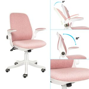 Bürostuhl Drehstuhl Ergonomischer Schreibtischstuhl Gepolsterte Armlehnen Wippfunktion Höhenverstellung Mesh, Rosa