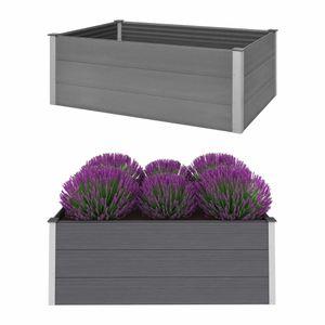 Garten-Hochbeet WPC 150 x 100 x 54 cm Grau - Blumenkübel Blumenkasten Pflanzbeet