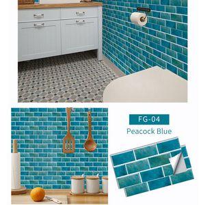 Fliesenaufkleber 30 x 15 cm Fliesenspiegel Klebefolie Fliesenfolie für Küche und Badezimmer Aufkleber,Blau