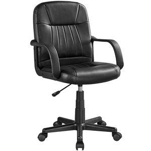 Yaheetech Bürostuhl Kunstleder Schreibtischstuhl Drehstuhl Bürosessel Chefsessel mit Rollen Armlehne für Büro/Wohnzimmer