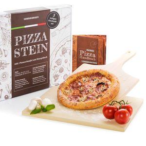 Pizzastein Set Deluxe 3-tlg - Brotbackstein für den Backofen inkl. Pizzaschaufel