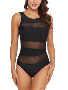 Sexydance Damen Backless Badeanzug Einteiliger Monokini Push Up Strandkleidung Netzgarn,Farbe:Schwarz,Größe:XL