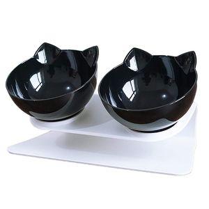 Doppelter   Katzennäpfe - 15° Futternapf Katzen,Rutschfeste Futterschüssel Hundenapf Schräg Doppelschüssel Anti-erbrechen-katzenschüssel für Katze Welpe(Schwarz+Schwarz)