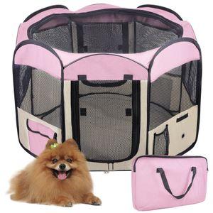 BATHRINS Welpenlaufstall Laufstall Hund Haustier Laufstall,fuer Kleintiere wie Hunde Katzen,125 x 125 x 61cm pink-OV