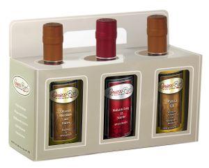 Essig & Öl Geschenk Box 3x 0,35L in  Olivenöl Basilikum / Aceto 25 Sterne / Pastaöl