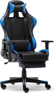 Racing Gamer Stuhl, Bürostuhl, Ergonomischer höhenverstellbarer Schreibtischstuhl  mit Fußstützen, Blau