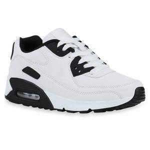 Mytrendshoe Damen Sportschuhe Laufschuhe Schnürer Profilsohle Freizeit Sneaker 831983, Farbe: Weiß Schwarz, Größe: 37