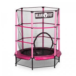 Klarfit Rocketkid Trampolin Gartentrampolin Outdoor-Trampolin (140 cm Durchmesser, verschließbares Sicherheitsnetz, Bungeeseil-Federung, bis max. 50 kg belastbar, Stangen gepolstert) pink