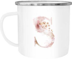 """Emaille Tasse Becher Buchstaben-Tasse """"S"""" Alphabet Monogram Zeichen Tasse mit Buchstabe Autiga® S weiß-metall unisize"""