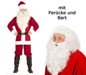 Weihnachtsmannkostüm mit Jacke, Hose, Gürtel, Hut - M - 3XL  mit Perücke + Bart XL/XXL 54-58