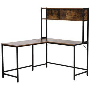 HOMCOM Computertisch, L-förmiger Eckschreibtisch, Schreibtisch, Bürotisch, Gamingtisch, PC-Tisch, Spanplatte+Metall, Natur+Schwarz, 140 x 125 x 149 cm