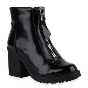 Mytrendshoe Damen Klassische Stiefeletten Blockabsatz Zipper Schuhe 835933, Farbe: Schwarz, Größe: 39