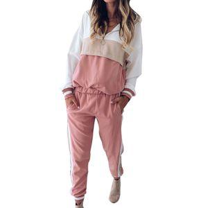 Zweiteiliger Sport Frauen Trainingsanzug Farbblock Reissverschluss Langarm Hoodies Hosen Set Pink M.