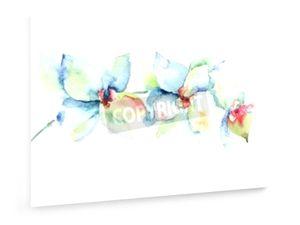 Orchideen Blumen, Aquarellillustration - 60x40cm - Leinwandbild auf Keilrahmen - weewado - Wandbilder - Kunst, Gemälde, Fotografie - Blumen